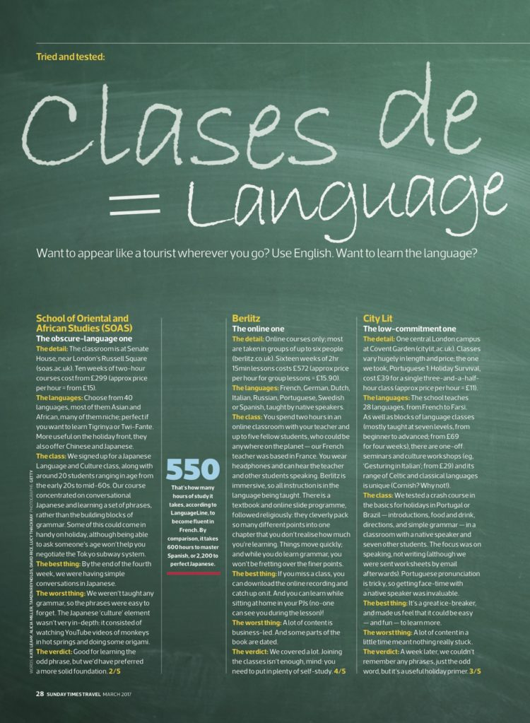 sunday times travel magazine languages