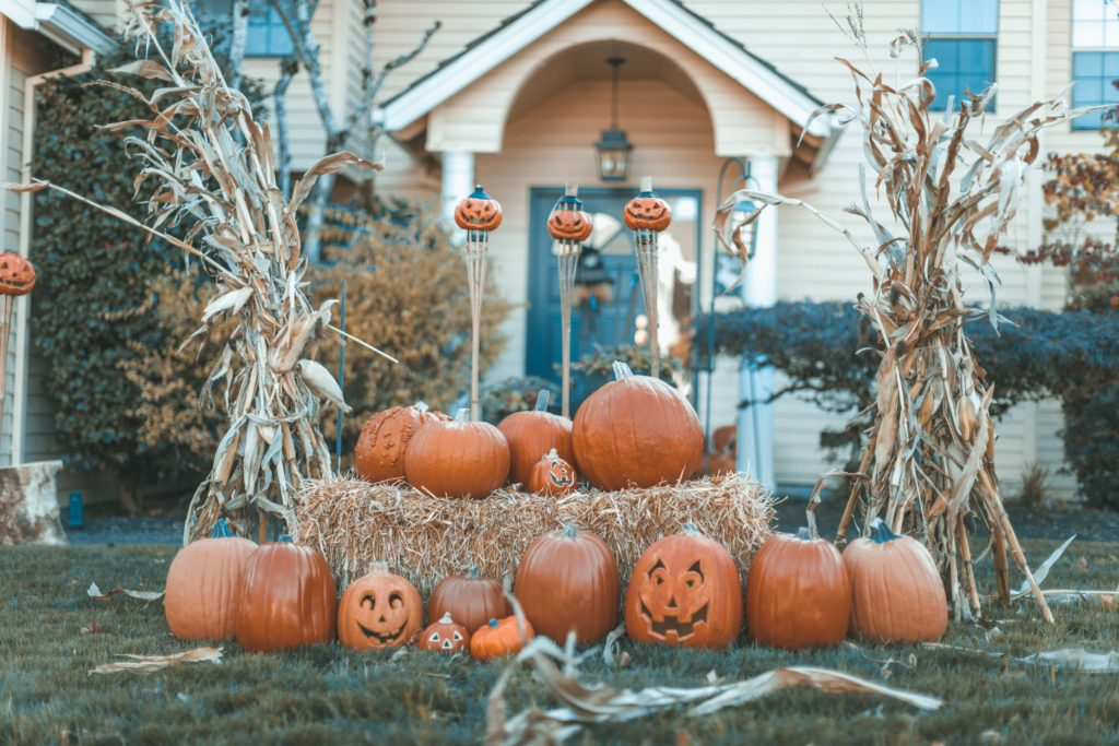Halloween traditions decorated yard in USA.
