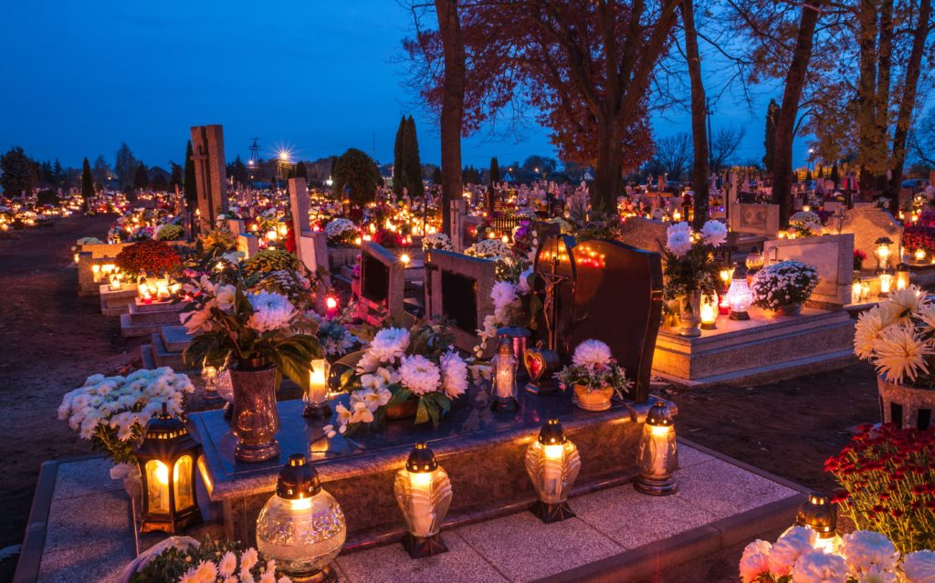 Halloween traditions in Italy. Cemetery during All Saint's Day